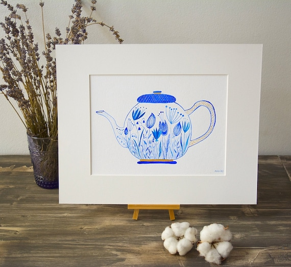 "Original watercolor painting ""Blue Teapot"" floral painting, kitchen wall art, art for dining room, botanic illustration"