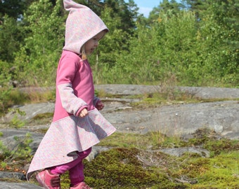 Iriden - fairy cotton jacket with pixie hood in pink color.