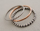 1 Rose Gold Ring and 2 Oxidized Sterling Silver Rings 3 thin mixed stacking rings