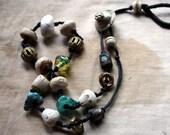 Tea With Poseidon--a  Necklace with Artisan Porcelain, Stoneware, Bone, Lampwork, Brass, and Metal Kuchi Closure
