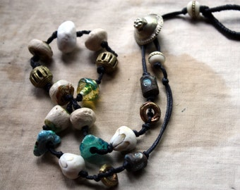 Tea With Poseidon--a  Necklace with Artisan Porcelain, Stoneware, Bone, Lampwork, Brass, and Metal Kuchi Closure