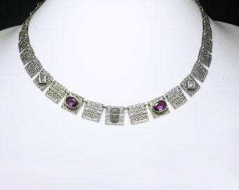 ART DECO Necklace Amethyst FILIGREE Fancy Choker Paste rhinestones Sorority padlock symbol vintage college jewelry silver festoon