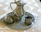 Pewter Tea Coffee Beverage Server & Tray Creamer Sugar 1970s Jeka Tiek Holland Real Dutch Pewter Home Decor