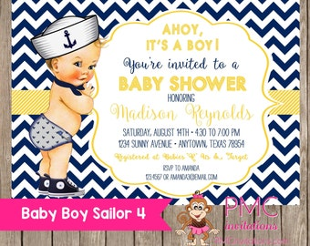 Navy and Yellow Chevron Nautical Baby Shower Invitations - 1.00 each with envelope