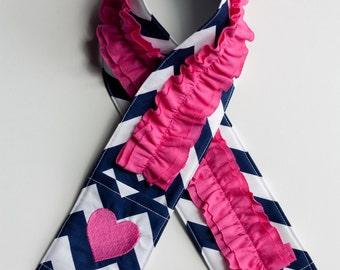 Monogrammed Ruffled Camera Strap Cover - Navy Chevron/ Bright Pink Heart