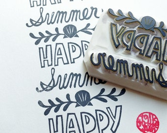 happy summer hand carved rubber stamp. hand lettered holiday wish stamp. summer holidays crafts. gift wrapping. scrapbook. card making. XL