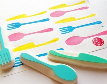 cutlery hand carved rubber stamp. fork spoon knife stamp. cooking kitchen stamp. diy birthday wedding christmas. gift wrapping