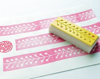 washi tape stamp. plant hand carved rubber stamp. nature inspired stamp. birthday wedding christmas crafts