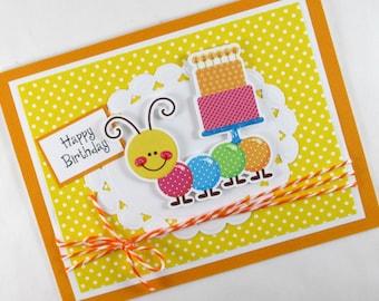 Caterpillar, birthday card, happy birthday, kids birthday cards, 1st birthday cards, childrens birthday, first birthday