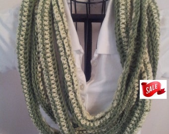 Cowl Infinity Scarf Summer CLEARANCE EVENT Super Scarf, Creamy Yellow and Green, Ready to Ship