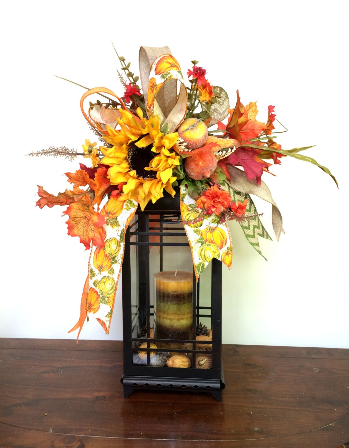 Decorating Ideas > Fall Lantern Swag With Pumpkins & Sunflower Autumn Swag ~ 072643_Thanksgiving Lantern Decorations