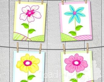 Set of 4 Girls Bedroom 8x10 Art Prints to Match Aloha Flower Bedding