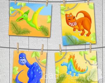Set of 4 Dinotastic Dinosaurs Kids Bedroom 8x10 ART PRINTS