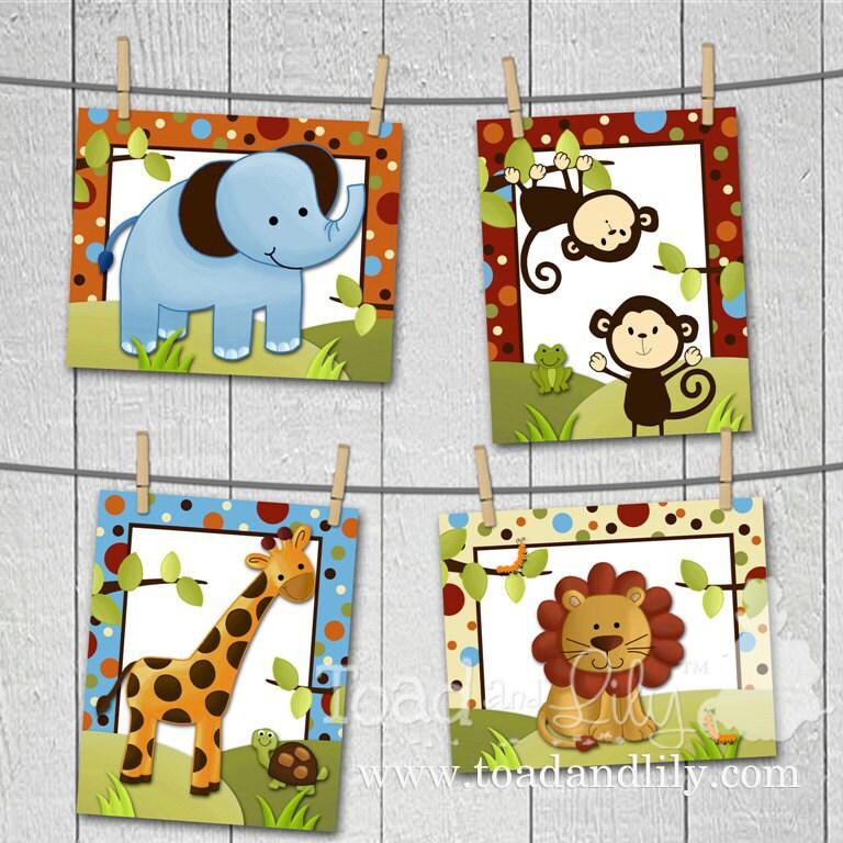 Set of 4 8x10 polka dot jungle boys bedroom baby nursery art for 8x10 bedroom