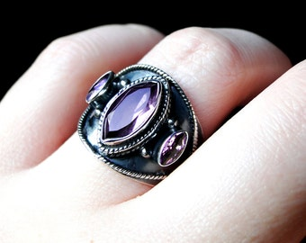 Amethyst Ring, Sterling Silver, Size 8: Cersei by CircesHouse on Etsy