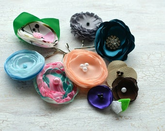 HAIR ACCESSORY SALE- Floral accessories, fabric flower bobby pins, hair pins,  grab bag, fabric flowers, silk flowers silk- 10pcs- set 5