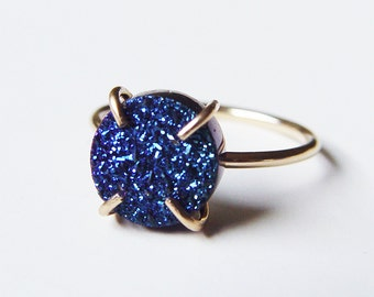 SALE Titanium Druzy Gold Ring