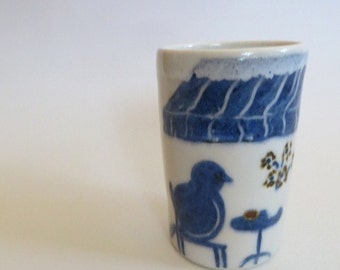 Tall White Cup with Hand Painted Bird, IN STOCK, Handmade Stoneware Pottery, Christmas Gift, Bird lover, Blue, White, Ceramic Mug No. 3