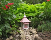 Pretty in Pink Fairy Cottage handbuilt hand built ceramaics clay house fairy house fairy garden outdoor onrmnent garden art woman's gift