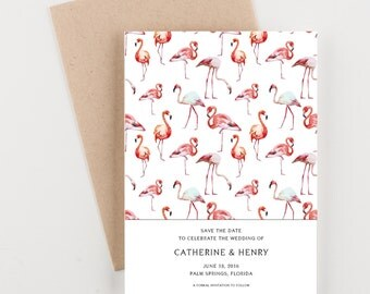 Pink Flamingo Tropical Save The Date, Wedding Announcement or Bridal Shower