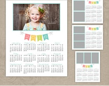 2016 8x10 Photo Calendar Photoshop Templates | Instant Download | Bunting