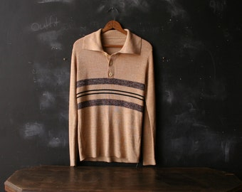 Vintage Mens Pullover Sweater with Three buttons Tan and Brown Stripes From Nowvintage on Etsy