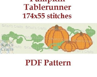 Pumpkin Table Runner Graphghan PDF Pattern - Written Instructions Only - Instant Download