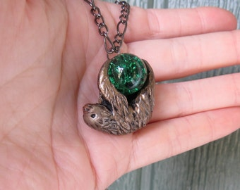 Sloth Necklace with Marble Two Toed
