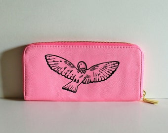 Pink WALLET with handpainted BIRD