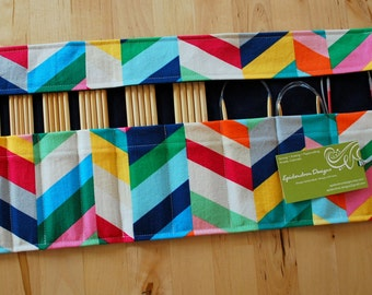 ALMOST GONE Roll Up Double Pointed Needle DPN & Circular Needle Organizer / Case / Holder - Rainbow Chevron Fabric with Navy Blue Lining