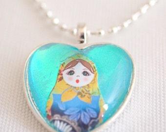 Russian doll necklace, heart shaped necklace, matryoshka doll, Russian nesting doll necklace, aqua love heart pendant