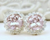 Rosaline Swarovski Crystals Framed with White Opal Halo Crystals on Silver Stud Earrings, Rose Halo Studs
