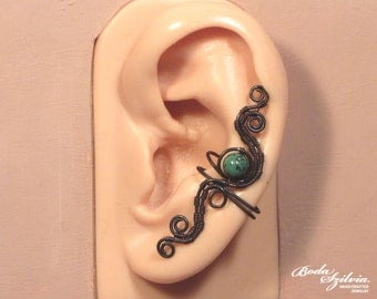EARTH EAR CUFF - copper earcuff, wire wrapped ear cuff, no piercing ear cuff, adjustable ear cuff, rustic jewelry, boho ear wrap