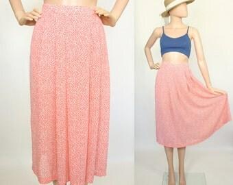 Midi Skirt Pastel Peach Lightweight Airy Semi Sheer Pleated A-line Polka Dot Print Spring Summer High Waist Day Skirt Small Medium