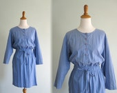 Vintage 1990s Dress - Cute Blue Cotton Casual Dress - 90s Eddie Bauer Dress XS S