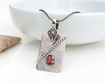 Dark red garnet necklace, hammered and textured sterling silver metalwork red pendant, oxidized silver jewelry