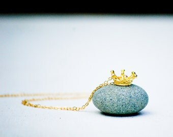 Tiny Gold CROWN Necklace Royals Queen King Fairy RING Necklace Children Teen Jewelry 14K Gold