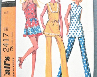 Uncut 1970s Dress Pattern McCall's 2417  Top  and Pants Shorts Tops have center back zippers Side Seam Vents Vintage Sewing Pattern  Bust 38