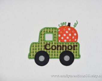Embroidered Iron On Applique- Personalized Pumpkin Truck