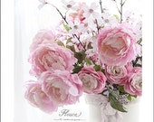 Peonies Photography, Shabby Chic Dreamy Peonies, Romantic Pink Peonies Wall Art, Peonies Ranunculus Floral Prints, Baby Girl Nursery Decor