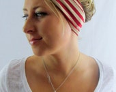 Twist Yoga Headband Red Cream Stripe Running Band Cotton Jersey Coachella Turban Headband Women's Hair Accessory or Choose Your Color