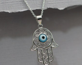 Sterling Silver Hamsa Hand Evil Eye Necklace, Sterling Silver Hamsa Hand Pendant on Sterling Silver Necklace Chain, Casual Necklace
