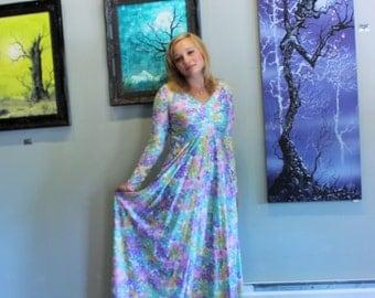 Maxi Dress - Vintage 1970s Floral Pastel Full Length