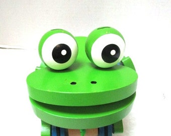 REDUCED Vintage Lime Green Frog Pull Toy Melissa and Doug Child Safe Toddler Toy Big Eyes Smile Blue Wheels, Moving Frog Legs, Nursery Decor