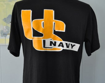 Military US Navy TShirt Vintage Tee Near Burnout Black Yellow Gold Super Soft Thin LARGE