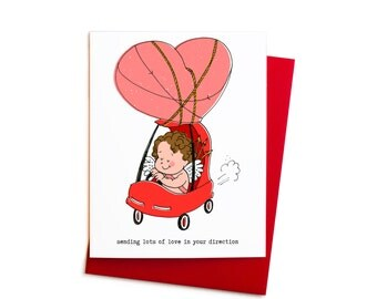 Cute Valentine's Day Card, Baby Cupid in a Pedal Car, Single Valentine Card in Red and Pink