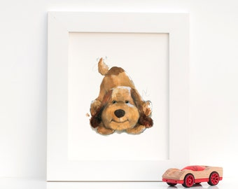 Watercolor Nursery Art : Print of Original Watercolor of Playful Puppy