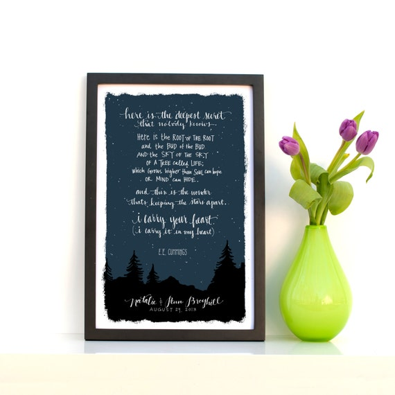 Custom E.E. Cummings, I Carry Your Heart, Typography Print, 11x17 Print, Personalized, First Anniversary Paper