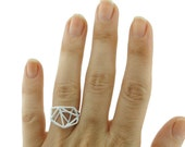 White Geometric Ring, Architecture Brass Ring, 3D White Ring, Geometric Ring, Ready to Ship