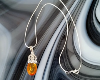 Faceted Topaz Pendant Necklace